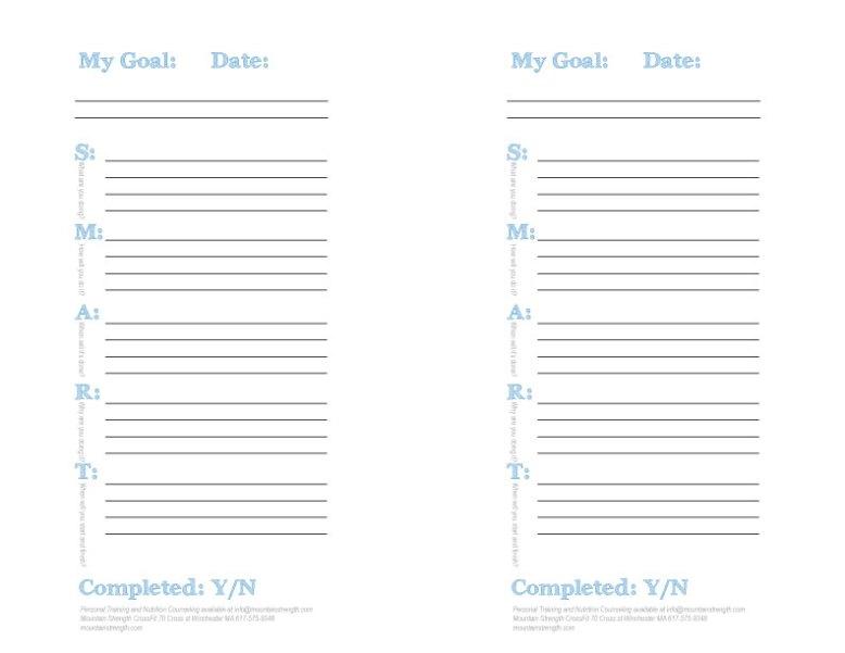 S.M.A.R.T. Goal Sheet