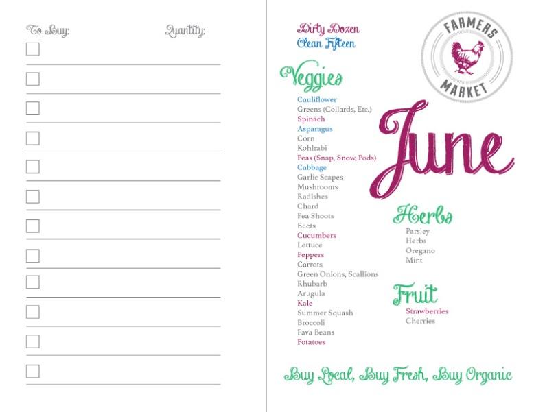 North East Region seasonal produce for June shopping list
